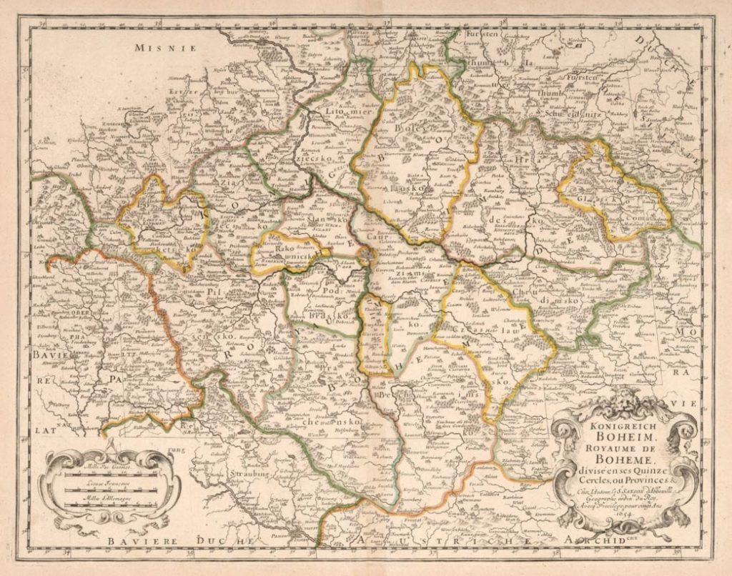 Mapa Českého království Nicolase Sansona zroku 1654