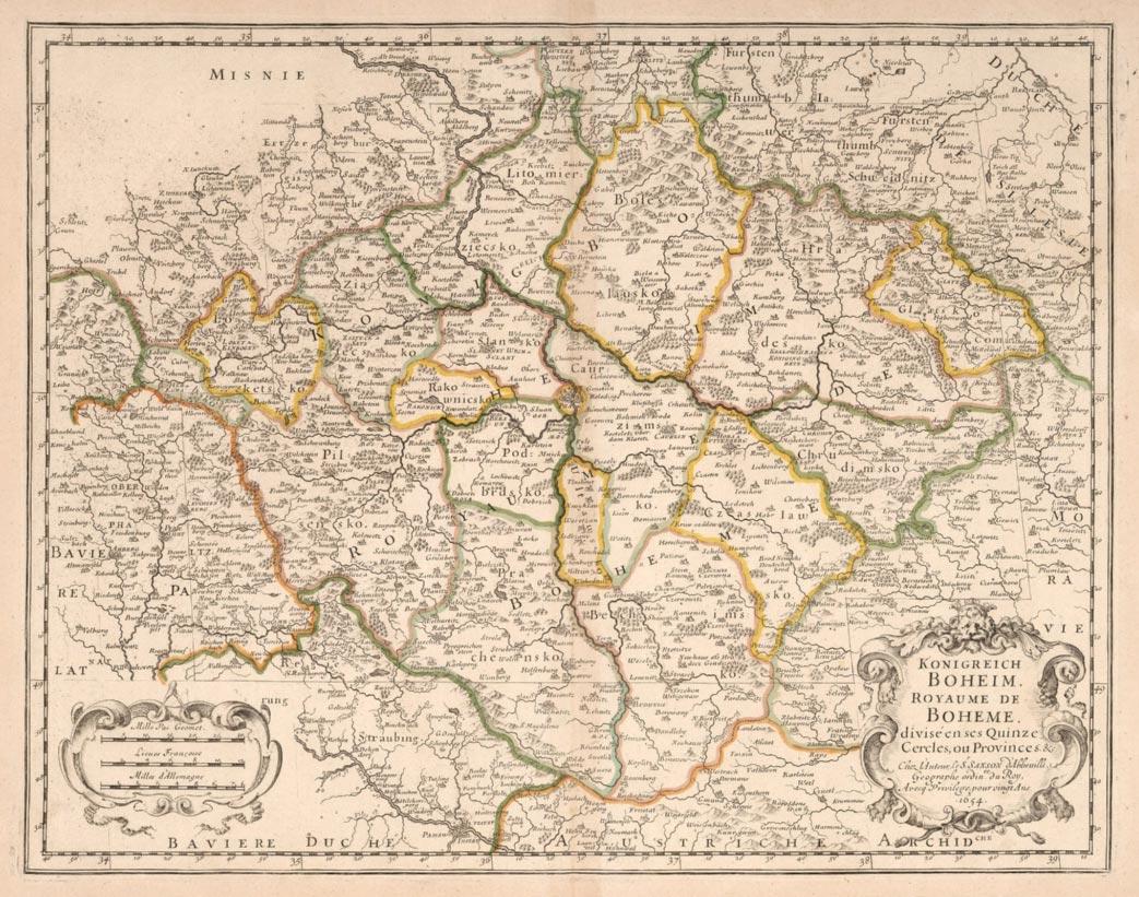 Mapa Českého království Nicolase Sansona z roku 1654