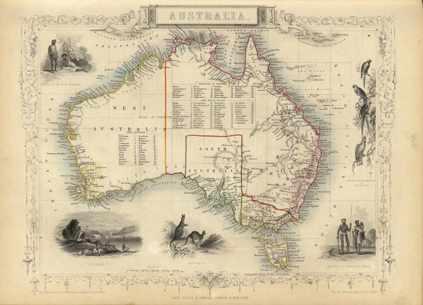 Ilustrovaná mapa Austrálie