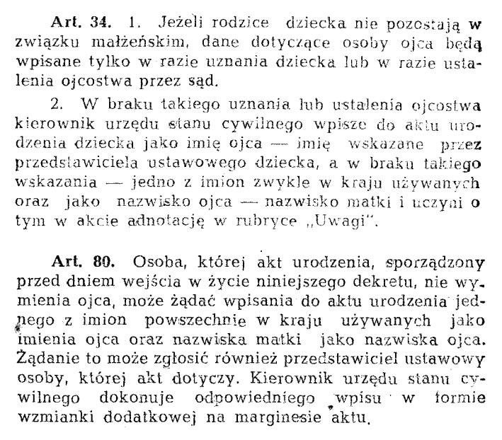 Dekret 151 z 1955 r. - Prawo o aktach stanu cywilnego, Art. 34 a Art. 80. Licence volná.